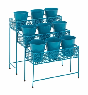 The Heavenly Metal 3 Tier Plant Stand Blue by  Import - 28937 by Benzara