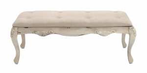 The Heavenly Wood Fabric Bench - 97196 by Benzara