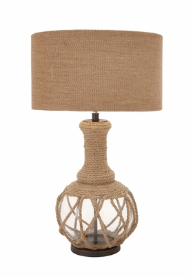 The Ingenious Glass Jute Rope Table Lamp - 40188 by Benzara