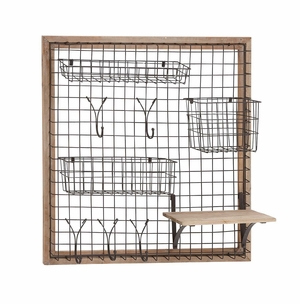 The Ingenious Wood Metal Wall Strong Rack - 97245 by Benzara