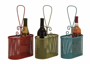 The Lovely Metal Wine Basket 3 Assorted - 34955 by Benzara