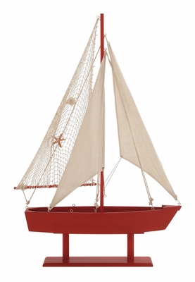 The Lovely Wood Canvas Sail Boat - 78754 by Benzara