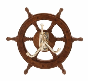 The Must Have Wood Brass Ship Wheel Hook - 19005 by Benzara