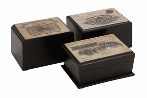 The Royal Wood Label Box 3 Assorted - 24943 by Benzara