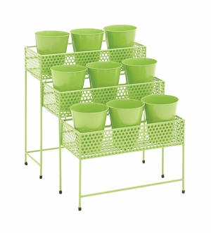 The Simple Metal 3 Tier Plant Stand Green - 28932 by Benzara