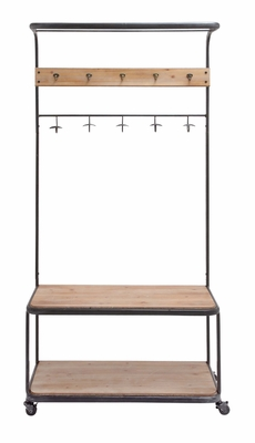 The Simple Metal Wood Clothes Rack - 97272 by Benzara