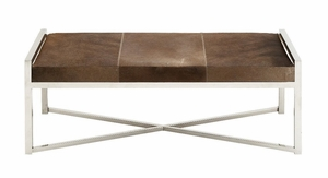 The Simple Stainless Steel Brown Leather Bench - 41211 by Benzara