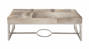 The Simple Stainless Steel Real Leather Bench - 95912 by Benzara