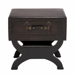 The Sleek Wood Leather End Table - 55744 by Benzara