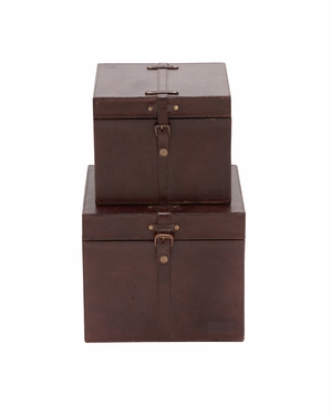 The Smooth Set of 2 Wood Real Leather Box - 95911 by Benzara