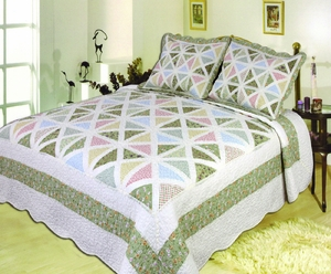 Spring Breeze handmade throw with pastel coloured patchwork super king size 118 x 102