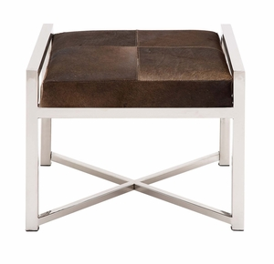 The Stable and Stylish Stainless Steel Brown Leather Stool - 41212 by Benzara