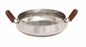 The Stunning Stainless Steel Leather Handle Bowl - 38098 by Benzara