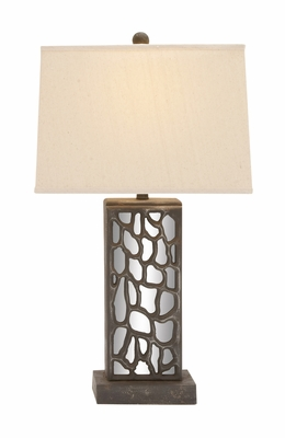 The Stunning Wood Mirror Table Lamp - 60109 by Benzara