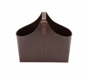 The Stunning Wood Real Leather Magazine Holder - 95907 by Benzara