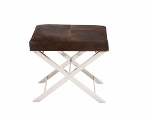 The Stylish Stainless Steel Brown Leather Stool - 41208 by Benzara