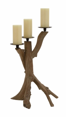 The Unadorned Wood Metal Candle Holder - 54333 by Benzara