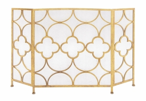 The Yellow Metal Fireplace Screen - 67053 by Benzara