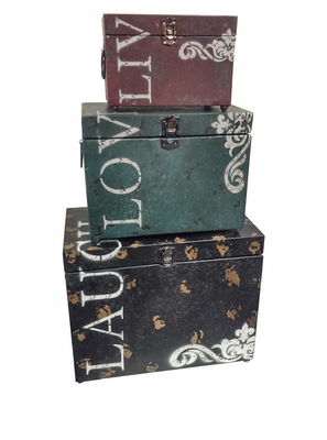 Classic Live Love Laugh Iron Storage Trunk Set - 53854 by Benzara