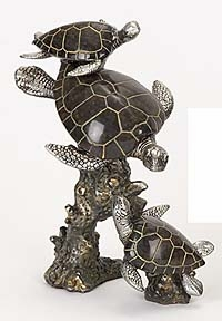 POLYSTONE TRIPLE TURTLE THREE TURTLES MAKE THE ROOM AQUATIC - 98311 by Benzara