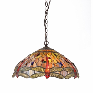 """ANISOPTERA PURITY Tiffany-style 3 Light Dragonfly Ceiling Pendant Fixture 18"""" Shade"""