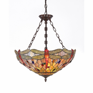 ANISOPTERA PURITY Tiffany-style 3Light Dragonfly Inverted Ceiling PendantFixture