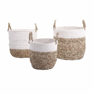 Timeless Set of 3 Shoelace and Raffia Woven Baskets by IMAX