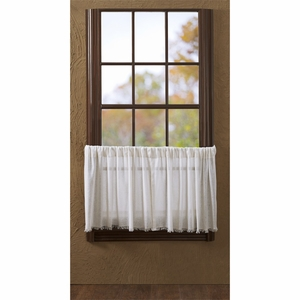 Tobacco Cloth Antique White Tier Fringed Set of 2 L24xW36 - 10762 by VHC Brands