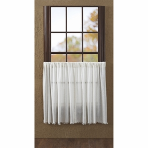 Tobacco Cloth Antique White Tier Fringed Set of 2 L36xW36 - 10763 by VHC Brands