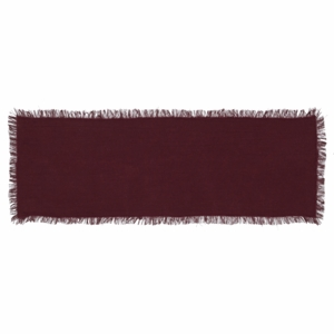 Tobacco Cloth Merlot Runner Fringed 13x36