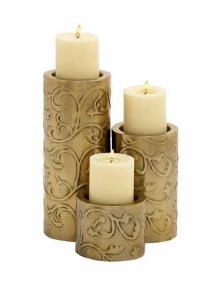 Too Beautiful Metal Candle Holder Set Of 3 - 24121 by Benzara