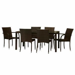 Toria 7-Piece All-weather wicker dining Set