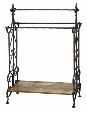 Traditional Wooden and Metal Towel Rack in Black Finish - 50403 by Benzara
