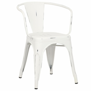 Trattoria Arm Chair in Distressed White by EdgeMod