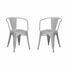Trattoria Arm Chair in Grey (Set of 2)