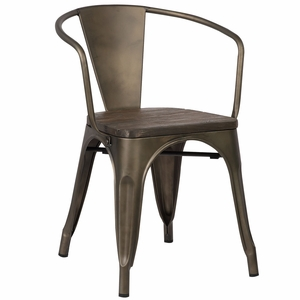 Trattoria Arm Chair with Elm Wood Seat in Bronze by EdgeMod