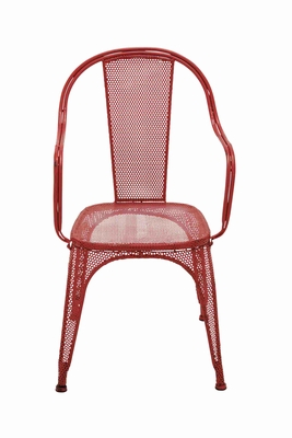 Trendy and Unique Net Themed Red Metal Chair Brand Benzara - 93841 by Benzara