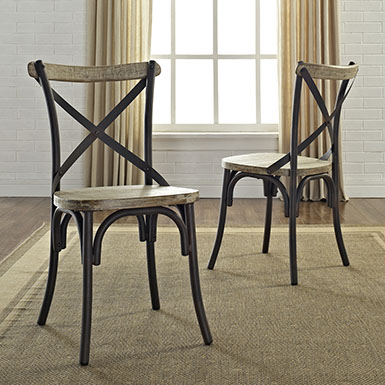 Buy trendy set of 2 urban reclamation deluxe dining chair for Trendy dining sets