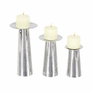 Trent Silver Finish Candleholder, Set Of 3 - 90875 by Benzara