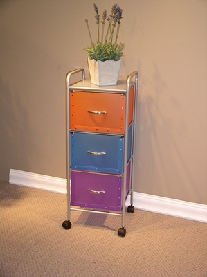 4D Concepts Tricolored Steel Moveable Three Drawer Chest