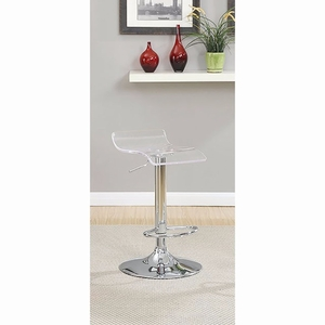 Trixy Contemporary Bar Chair In Clear Color With Acrylic Seat, Set of 2