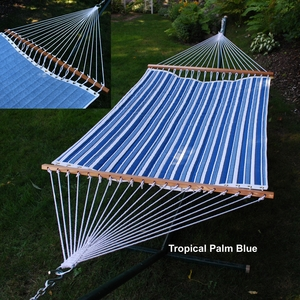 Algoma Tropical Palm Stripe Powder Blue Reversible Quilted Hammock