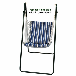Tropical Palm Stripe Blue/ Norway Powder Blue Solid Swing Chair with Stand combination by Algoma