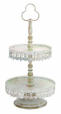 Old Look Victorian Two Tier Treat Tray - 68765 by Benzara