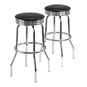 Two Trendy Round Retro Summit Swivel Metallic Bar Stools by Winsome Woods