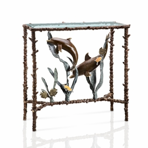Underwater Themed Dolphin Duo Lobby Table with Coral and Reef by SPI-HOME