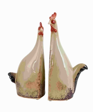 Carbonized Ceramic Rooster with True Colors - Set of 2 - 40840 by Benzara