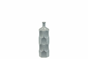 Unique Ceramic Bottle w/ Thin Mouth & Circular Embedded Design Body in Gray Small