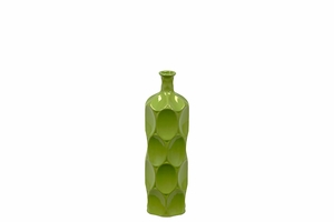 Unique Ceramic Bottle w/ Thin Mouth & Circular Embedded Design Body in Green Small