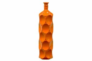 Unique Ceramic Bottle w/ Thin Mouth & Circular Embedded Design Body in Orange Large